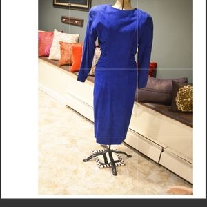 Vintage Vakko Blue Suede Dress